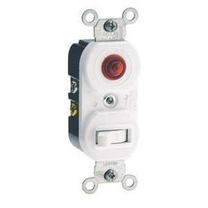 Leviton 5226-W Combination Switch / Neon Pilot Light, 15A, White