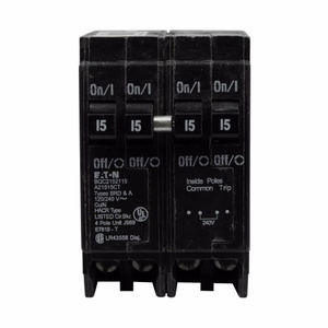 Eaton BQC215240 Breaker, 15/40A, 2P, 120/240V, 10 kAIC, CTL Quad, BR Series
