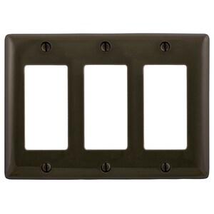Hubbell-Bryant NP263 Decora Wallplate, 3-Gang, Nylon, Brown