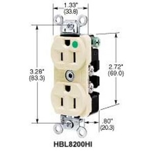 Hubbell-Kellems HBL8300HI Hospital Grade Duplex Receptacle, 20A, 125V, 5-20R, Ivory, Compact