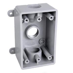 "Hubbell-TayMac PSB37550GY Weatherproof Outlet Box, 1-Gang, 2"" Deep, (3) 1/2"" or 3/4"" Hubs"