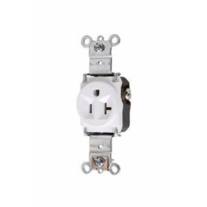 Pass & Seymour 5361-W Single Receptacle, 20A, 125V, White,  5-20R