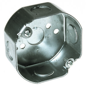 """Hubbell-Raco 110 3-1/2"""" Octagon Box, 1-1/2"""" Deep, 1/2"""" Kos, Steel"""