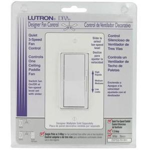 Lutron DVFSQ-FH-WH Fan Control, Decora, 3-Speed, 1-Pole, 1.5A, 120V, White