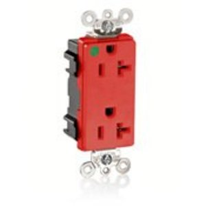 Leviton M1636-HGR Hospital Grade Decora Duplex Modular Receptacle, 20A, 125V, Red *** Discontinued ***