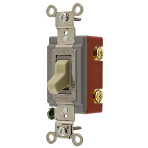 Hubbell-Kellems 1221R Toggle Switch, 1-Pole, 20A, 120/277V, Red