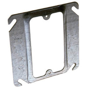 """Hubbell-Raco 772 4"""" Square Cover, 1-Device, Mud Ring, 1/2"""" Raised, Drawn, Metallic"""