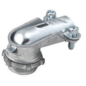"Hubbell-Raco 2691 AC/Flex Connector, 3/8"", 90°, 2-Screw Clamp, Zinc Die Cast"