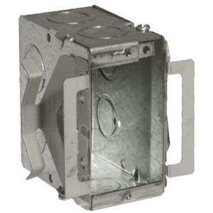 "Hubbell-Raco 695B Masonry Box, Type: Block-Loc™, 1-Gang, Welded, 3-1/2"" Depth, Steel"