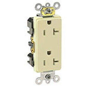 Leviton 16362-I Decora Duplex Receptacle, 20A, 125V, 5-20R, Ivory, Limited Quantities Available
