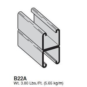 "Eaton B-Line B22A-120SS4 Channel - Back To Back, Stainless Steel 304, 1-5/8"" x 3-1/4"" x 10'"