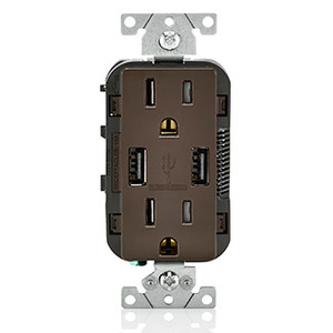 Leviton T5632-B Receptacle / USB Charger Combo, 15A, Brown