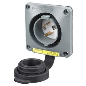 Hubbell-Wiring Kellems HBL2315SW LKG WT S/SHRD FLG-INLT, 20A 125V, L5-20P