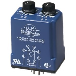 R-K Electronics CLRB-115A-2-1H-1H 8 Pin, Timing Relay, DPDT, 120V Coil