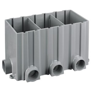 "Hubbell-Kellems PFBRG3 Rectangular Floor Box, Depth: 6"", 3-Gang, 1"" Hubs, Non-Metallic"