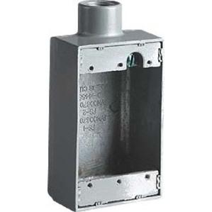 """Hubbell-Killark FS-1M FS Device Box, 1-Gang, Dead-End, Type FS, 1/2"""", Malleable Iron"""