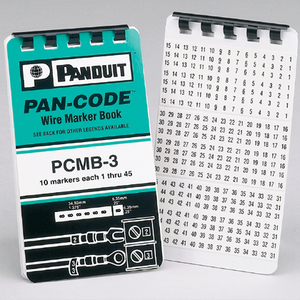 Panduit PCMB-2 Wire Marker Book, Vinyl Cloth, 'A-Z 0-15 + - /', 10 Pg