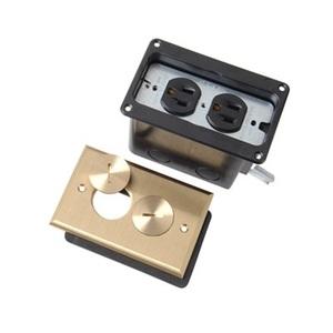 Pass & Seymour FB1-TR-DR-B Floor Box, Brass, Duplex, 1 Gang