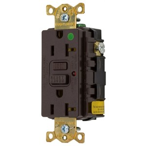 Hubbell-Kellems GFR8300HLA Commercial Hospital Grade, GFCI Duplex Receptacle with LED Indicator, Brown