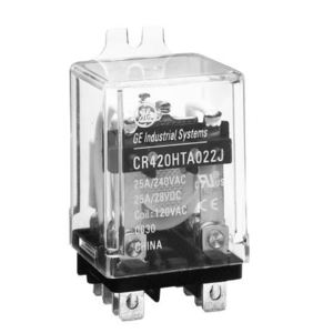 GE CR420HPA0224 Relay, Ice Cube, 8 Blade, 2PDT, 25A, 24VDC Coil, 240VAC Rated