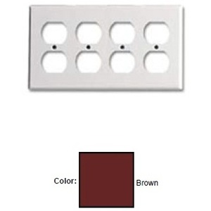 Leviton 85041 Duplex Receptacle Wallplate, 4-Gang, Thermoset, Brown