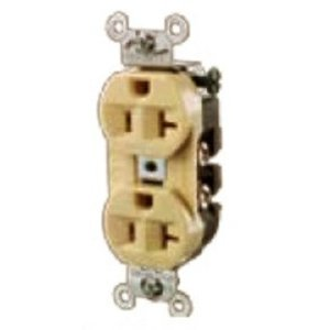 Hubbell-Kellems 5262W Duplex Receptacle, 15A, 125V, 2P3W, White