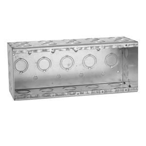 "Hubbell-Raco 699 Masonry Box, 5-Gang, 3-1/2"" Deep, 1/2 "" & 3/4"" KOs, Metallic"