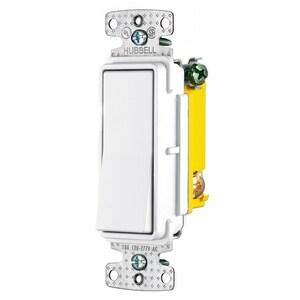 Hubbell-Bryant RSD315W Three-Way Decora Switch, 15A, 120/277VAC, White