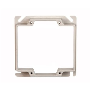 "Allied Moulded 9346-58 4"" Square Cover, 2-Device, Mud Ring, 3/4"" Raised, Drawn, Metallic"