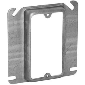 "Hubbell-Raco 768 4"" Square Cover, 1-Device, Mud Ring, 5/8"" Raised, Drawn, Metallic"
