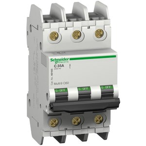 Square D 60196 Breaker, Miniature, 20A, 240V, 3P, DIN Rail Mount, Lug In, Lug Out