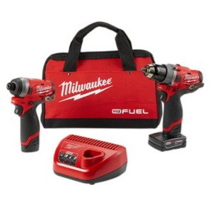 "Milwaukee 2596-22 M12 FUEL™ 2-Tool Combo Kit: 1/2"" Drill Driver and 1/4"" Hex Impact Driver"