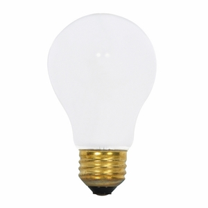 Satco S8517 Incandescent Bulb, Rough Service, A19, 75W, 130V, Frosted