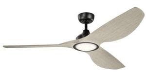 "Kichler 300365SBK Paddle Fan, 3-Blade, 65"", LED Lamp, 3000K, Satin Black"