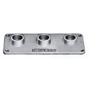 "Appleton RSK3-100 Conduit Hub Plate, (3) 3/4"" Hubs, Malleable Iron"