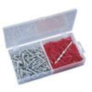 Ideal 90-053 Plastic Anchor Kit, Flange-Type, #10-12 Anchors/#12 Screws/Bit