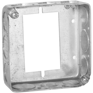 "Hubbell-Raco 187 4"" Square Extension Ring, 1-1/2"" Deep, Drawn, Metallic"