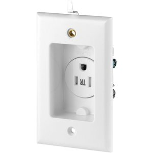 Eaton Wiring Devices TR775W-BOX-SP Clock Hanger Receptacle, 15A, 125V, 5-15R, White