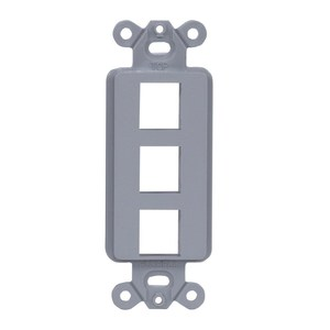 Hubbell-Premise ISF3GY PLATE, DECORATOR FRAME,3PORT,GY