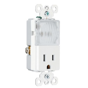 Pass & Seymour TM8-HWLWCC Hall Light / Receptacle Combo, 15A, White *** Discontinued ***
