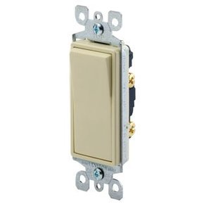 Leviton 5611-2T Illuminated Decora Rocker Switch, 1-Pole, 15A, 120/277V, Light Almond