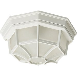 Maxim Lighting 1020WT 2-Light, 60W, White, Outdoor Ceiling Mount, Frosted Glass