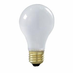 Satco S3935 Incandescent Bulb, Rough Service, A21, 100W, 130V, Frosted