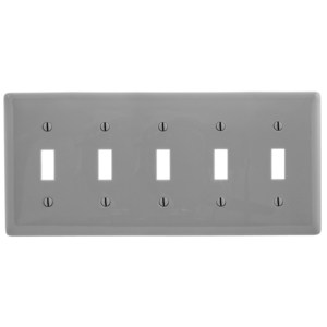 Hubbell-Wiring Kellems NP5GY WALLPLATE, 5-G, 5) TOGG, GY
