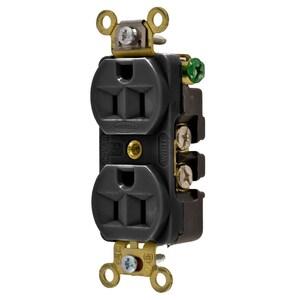 Hubbell-Kellems HBL5252BK Duplex Receptacle, 15A, 125V, Black, Heavy Duty