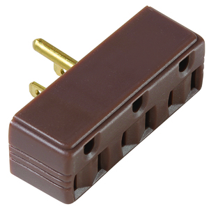 Pass & Seymour 697 PLUG IN 1 TO 3 OUTLET ADAPTOR BROWN