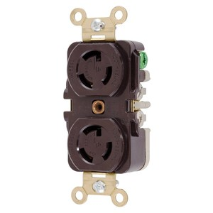 Hubbell-Kellems HBL4750 Locking Duplex Receptacle, 15A, 277V, L7-15R, Brown