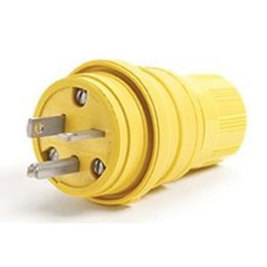 Woodhead 14W33 Watertight Super-Safeway Plug, 20A, 125V, NEMA 5-20, Yellow