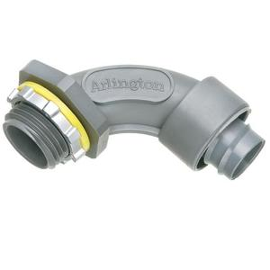 "Arlington NMSC9075 Liquidtight Connector, 3/4"", Screw-On, 90°, Non-Metallic"