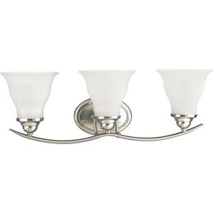 Progress Lighting P3192-09 Bath Light, 3-Light, 100W, Brushed Nickel